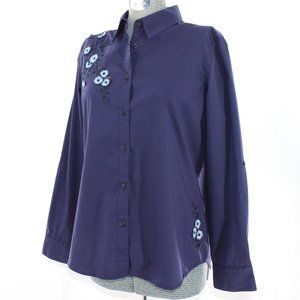 Cathy Long-Sleeve Blue Blouse with Embroidery L